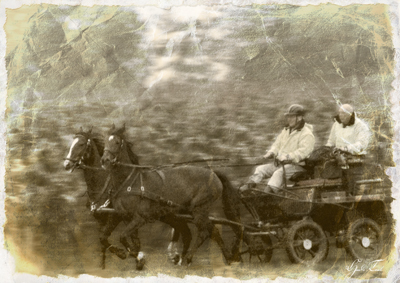 Kutsche mit zwei Pferden - Digital auf Alt getrimmt.